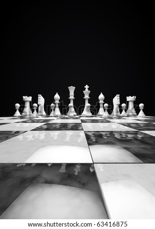 chess set in white