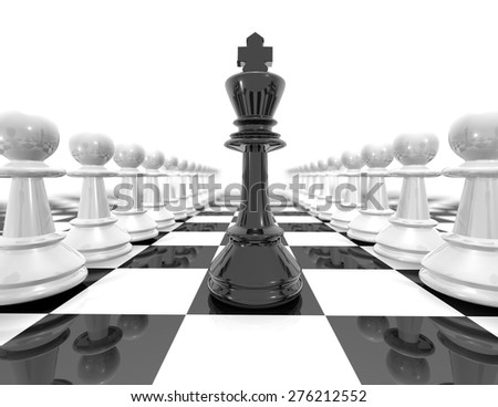 Chess set strategy black and white illustration with black chess king and pawns. - stock photo