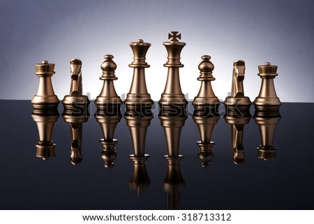 Chess set with reflection - stock photo