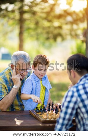 chess, strategy, board, nature and family concept - stock photo