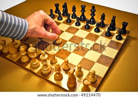 Chess. The match begin. Shallow dof. - stock photo