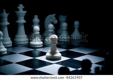 Chess. White go the first. The central figure-pawn - stock photo