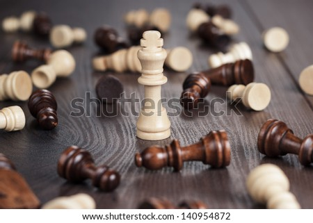 chess winning concept on the wooden background - stock photo