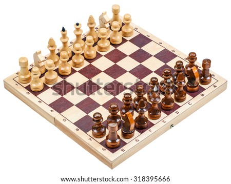 chess with a chess board isolated on a white background - stock photo