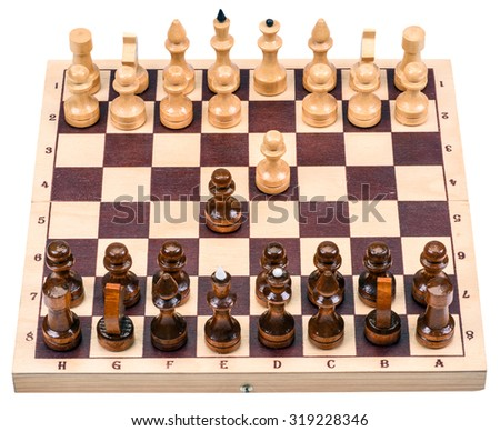 chess with a chess board isolated on a white background