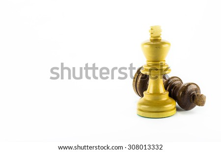 chess wood on white background - stock photo