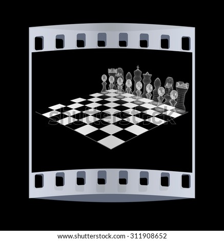 Chessboard with chess pieces. The film strip - stock photo