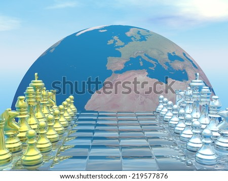 Chessboard with earth planet and blue sky - 3D render - stock photo
