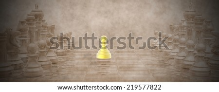 Chessboard with golden pion ahaead and vintage background - 3D render - stock photo