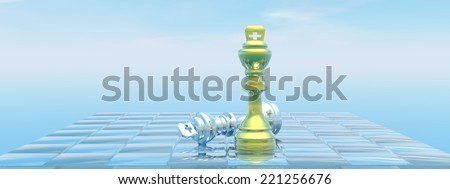 Chessboard with kings, one chackmate and blue sky - 3D render - stock photo