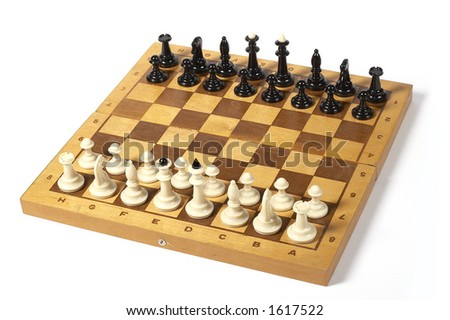 chessmans on the chessboard over white