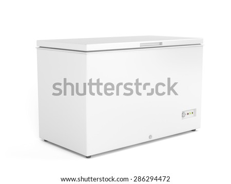 Chest freezer on white background - stock photo