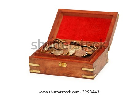 Chest full of coins isolated  on white - stock photo