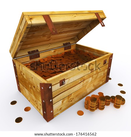 Chest Of Coins - stock photo