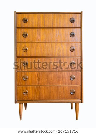 Chest of drawers isolate on white background - stock photo