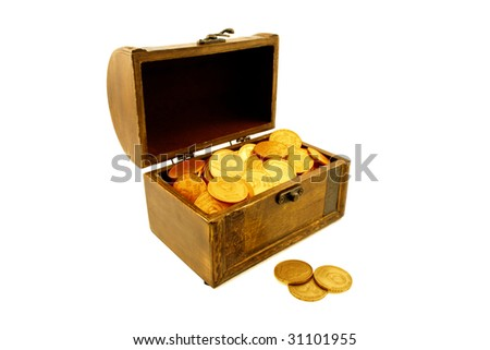 Chest trunk wooden gold isolated on the white background