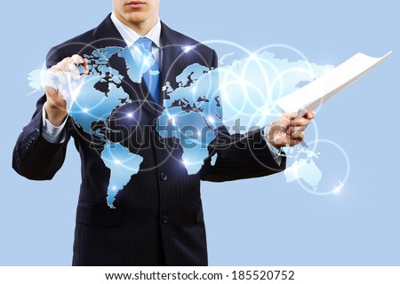 Chest view of businessman touching icon of media screen - stock photo