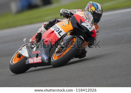 CHESTE - NOVEMBER 11: Dani Pedrosa during MOTOGP Race of the Comunitat Valenciana, on November 11, 2012, in Ricardo Tormo Circuit of Cheste, Valencia, Spain - stock photo