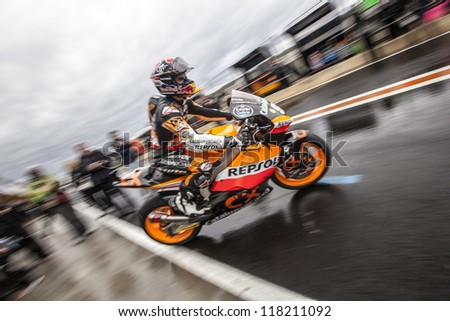 CHESTE - NOVEMBER 9: Marc Marquez during MOTOGP of the Comunitat Valenciana, on November 9, 2012, in Ricardo Tormo Circuit of Cheste, Valencia, Spain - stock photo