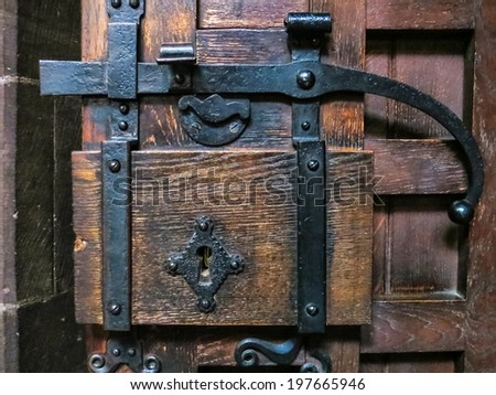 CHESTER, CHESHIRE/UK - OCTOBER 10 : Old door latch at Chester Cathedral in Cheshire on October 10, 2012