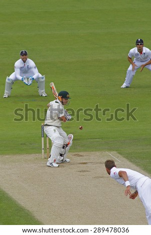 CHESTER LE STREET, ENGLAND - August 10 2013: Stuart Broad bowls the ball to David Warner during day two of the Investec Ashes 4th test match at The Emirates Riverside Stadium, on August 10, 2013