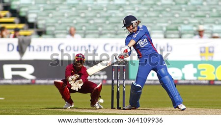 CHESTER LE STREET, ENGLAND 08-Sept-2012. During the 1st Nat West t20 cricket match between  England women's team and West Indies women's and played at Emirate Riverside Cricket Ground, Durham. - stock photo
