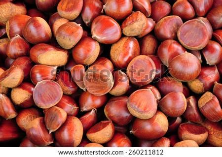 Chestnut background - stock photo