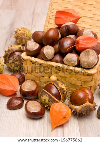 chestnut fruit and cape gooseberries close-up on a wooden boards background. vertical photo. - stock photo