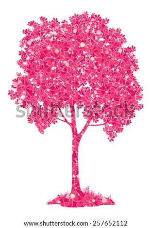 Chestnut pink tree with a pattern of leaves and butterflies and grass, symbol of spring, isolated on a white background. - stock photo