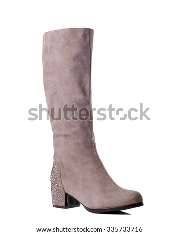 Chestnut suede high boot on white background. - stock photo