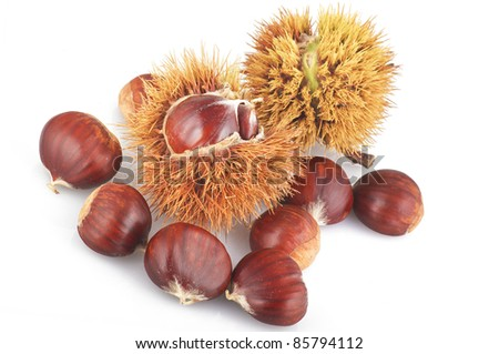 Chestnuts fresh fruit close up