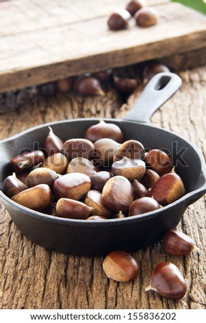 Chestnuts in the pan.