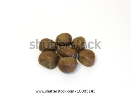 Chestnuts on a white backround