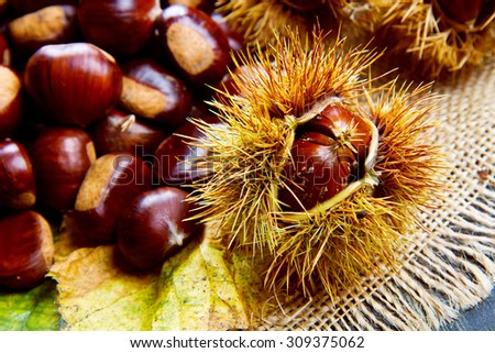 Chestnuts on an old board. - stock photo