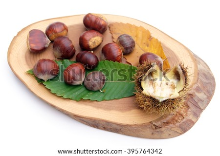 Chestnuts on green leaves and wood - isolated on white