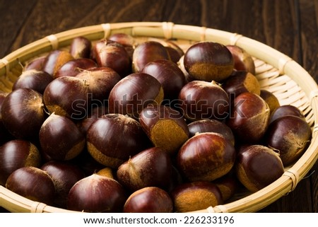 Chestnuts on the Japanese Bamboo Colander background