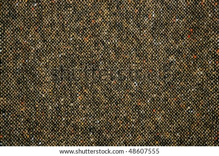 Cheviot tweed fabric background texture on brown color - stock photo