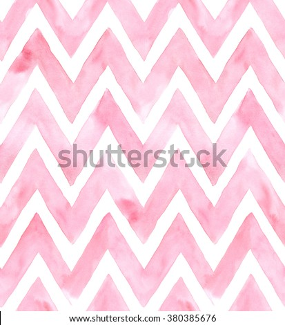Chevron of pink color on white background. Watercolor seamless pattern for fabric - stock photo