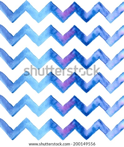 Chevron watercolor blue Background. Hand Painted Chevron Background. Zigzag background. - stock photo