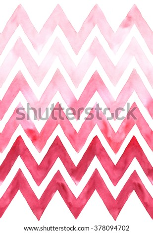 Chevron with gradation of pink color on white background. Watercolor seamless pattern for fabric - stock photo