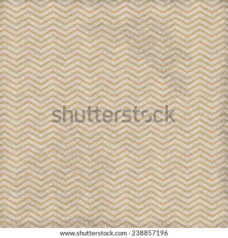 Chevron Zig Zag, Textured Fabric Print Background with diamond floral overlay in beige - stock photo