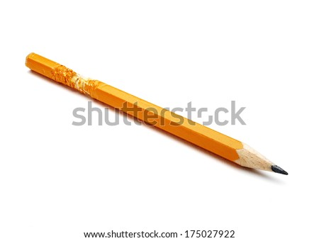 chewed  pencil isolated