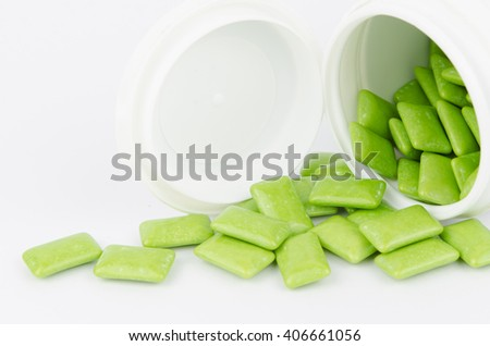 chewing gum flow out from bottle - stock photo