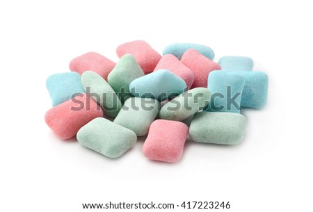 Chewing gum isolated on white cubes - stock photo