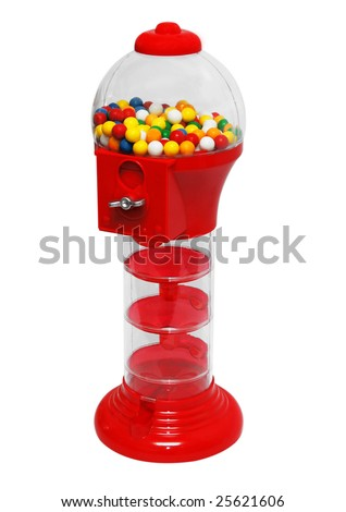 Chewing gum machine plenty of gumballs. Insert coin and get the ball - stock photo