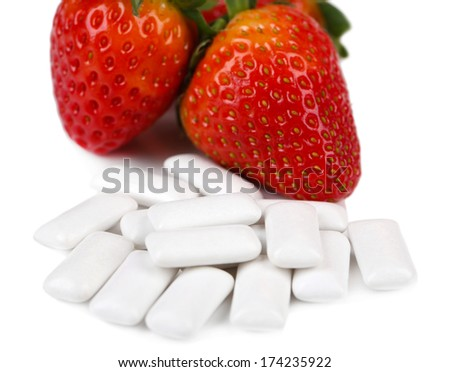 Chewing gum with fruit taste,  isolated on white - stock photo