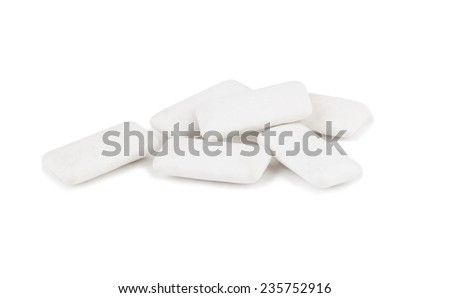 chewing or bubble gums on white with clipping path  - stock photo