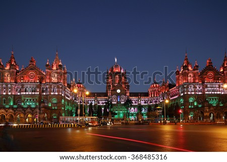 Chhatrapati Shivaji Terminus (CST) formerly Victoria Terminus in Mumbai, India is a UNESCO World Heritage Site, Circa 26 January 2016 - stock photo
