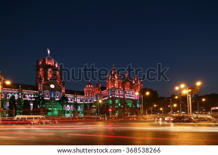 Chhatrapati Shivaji Terminus (CST) formerly Victoria Terminus in Mumbai, India is a UNESCO World Heritage Site Circa 26, January 2016 - stock photo