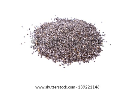 Chia Seed over White - stock photo